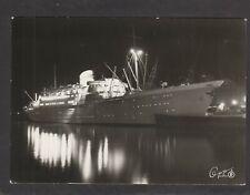 """Oslofjord"" Norwegian American Line Norway steamship at Oslo at night postcard"