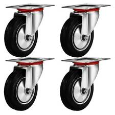 4 Pack 3 Swivel Caster Wheels Rubber Base With Top Plate Amp Bearing Heavy Duty