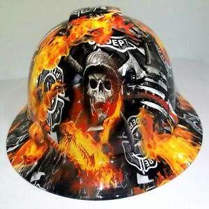 NEW FULL BRIM Hard Hat custom hydro dipped Thin red line of courage , fireman