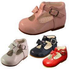 BABY TODDLER GIRL SPANISH STYLE PATENT T BAR BOW FIRST WALKING SHOES UK 2 - 6