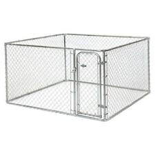 Chain Link Dog Boxed Kennel 7.5 x 7.5 x 4 ft. Outdoor Exercise Fence Pet Pen