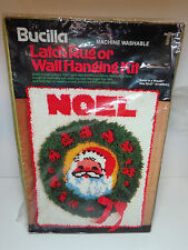 Bucilla Santa Latch Hook Rug Wall Hanging Kit Noel Christmas Wreath