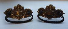Set of 2 Antique Brass Drawer Pulls Bail Handle Ornate Furniture Hardware Crown