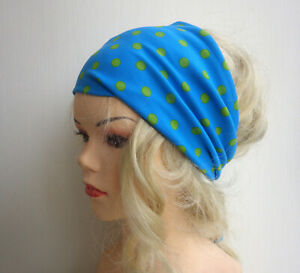 türkis hellgrün Dots - Haarband Haarbänder extra breit HairBand Yoga Wellness