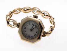 9 Ct Gold Vintage Ladies Wrist Watch & Strap, 19.1 Grams Swiss 15 Jewel Working