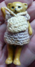 """ANTIQUE HERTWIG BISQUE JOINTED GIRL TEDDY BEAR CROCHETED DRESS & BAG  2"""" TALL"""
