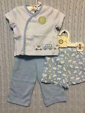 New/Tags NB (6-8lbs)  Little Me Baby Boy's 100% Cotton 3-Piece Diaper/Pant Set