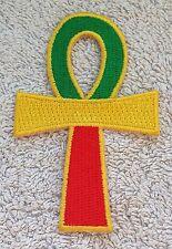 RASTA ANKH CROSS PATCH Cloth Badge/Emblem/Insignia Biker Jacket Rastafarian Flag