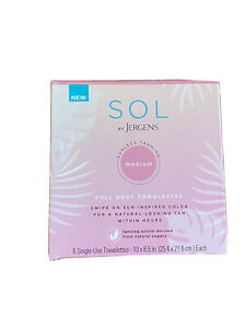 NIB Sol By Jergens Sunless Tanning Towelettes, Full Body, Fresh 6 pack