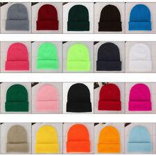 Men's Women Beanie Knit Ski Cap Unisex Hip-Hop Blank Color Winter Warm Wool Hat
