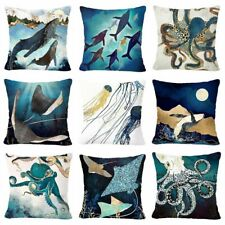 """PILLOW COVER Teal Blue Jellyfish Whale Octopus Home Decor Cushion Case 18x18"""" US"""