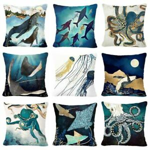 """Throw PILLOW COVER Teal Blue Jellyfish Octopus Decorative Cushion Case 18x18"""" US"""