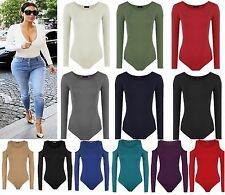 Women Ladies Celebrity Style Long Sleeve Stretch Bodysuit Party Leotard Top 6-14