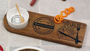 Hoff Interieur 6801 Antipasti Set Special Foods Wooden Board With Porcelain Bowl