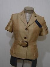 Jones New York Womens Jacket Short Sleeve Gold Button Metallic 10P Belt Tan $129