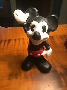 Vintage Bank Mickey Mouse Painted Cast Iron Bank