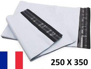 50X Enveloppe Plastique 250x350+40mm Adhésif Blanche Opaque Indéchirable 60u