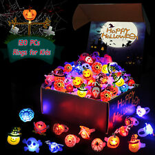 120 Pcs Halloween LED Glow Ring Light Up Toys Party Decorations
