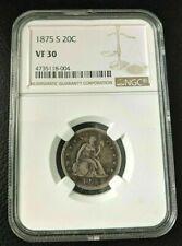 1875 S 20 TWENTY CENT PIECE NGC GRADED VF 30 choice
