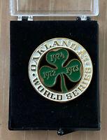 VINTAGE 1974 MLB OAKLAND A'S ATHLETICS WORLD SERIES BASEBALL PRESS PIN - BALFOUR