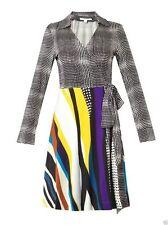 NWT $425 DIANE von FURSTENBERG T72 Optic Plaid Black Glass Patch Silk Dress SZ 8