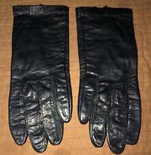 Vintage Grandoe Black Leather Nylon Lined Gloves Women's Sz 6.5