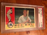 "1960 TOPPS #350 Mickey Mantle PSA 6 EX-MT ""New York Yankees"" BASEBALL CARD"