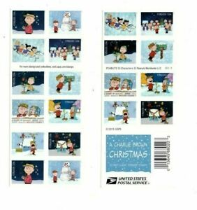 Charlie Brown Snoopy Peanuts Booklet / Sheet US Postage Stamps Christmas Cards
