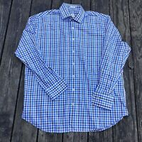 Peter Millar Mens sz XL Blue/ brown Check L/S Button Up Dress Shirt