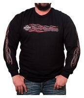 Harley-Davidson Men's Crossfire Flaming Bar & Shield Long Sleeve Shirt, Black