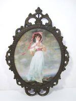 Antique Bronze Frame Convex Glass Italy