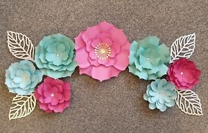 pink mint green silver paper flower wall decor  birthday wedding decoration...