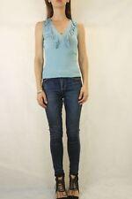 CUE Knit Sapphire Blue Ruffle Top Size M 10