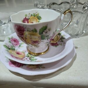 Queen Anne Pink Rose Trio Made in England