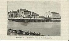 Stampe antiche COMACCHIO pesca Valle Caldirolo Ferrara 1891 Old antique print