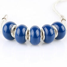 5pcs Jelly Deep blue MURANO bead LAMPWORK For European Charm Bracelet