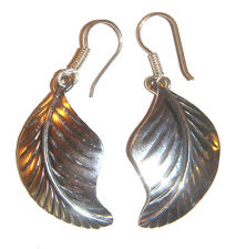 TAXCO .980 Sterling Silver Leaf Earrings Handcrafted from Mexico