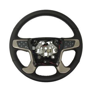 Black Leather Steering Wheel 2015-19 GMC Sierra 2500 3500 Heated 84483794