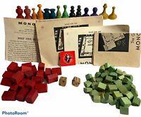 Huge 100+ Vintage MONOPOLY Wooden Wood Hotels Motels Token Game Pieces LOT 1930s