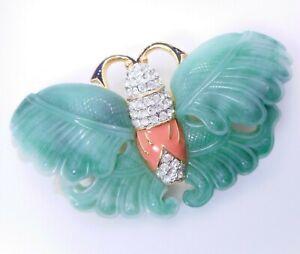 """Vtg KJL Kenneth Jay Lane Green Faux Jade Rhinestone Moth or Butterfly Brooch 3"""""""