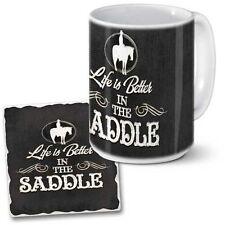 Western Lodge Cabin Decor Life Is Better In The Saddle Coaster & Coffee Mug Set