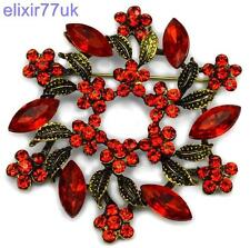 NEW STUNNING VINTAGE STYLE GARLAND BROOCH WITH RED RHINESTONES ANTIQUE BROACH UK