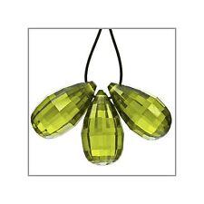 4 Cubic Zirconia Teardrop Briolette Beads 6.5x12mm Olive Green #64060