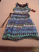 New Womens  Wrappers Multi-Color Sleeveless Dress Size Medium 8-10