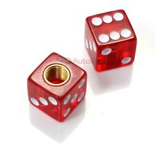(2) Clear Red Dice Old School BMX Tire Stem Valve Caps Covers