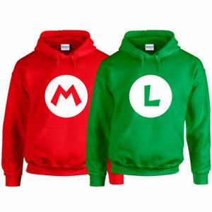 Mario Red Luigi Green Hoodies Gaming retro Super Brothers Kids, Adult Gift Hoody