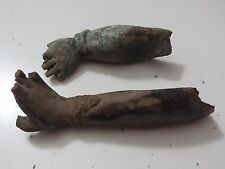 ANTIQUE MONGOLIAN TIBETAN  BUDDHIST COPPER STATUE   ARMS 2 PC