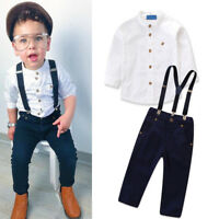 5be64060b028 Valentine s Day Birthday Gentlemen Top Suspender Outfit Clothes for Baby  Kid Boy