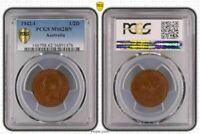 1942-I AUSTRALIA HALF PENNY BU UNCIRCULATED PCGS MS62BN COIN IN HIGH GRADE