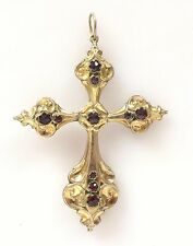Large Antique Ornate Gold Vermeil Cross Bohemian Garnet Pendant Victorian
